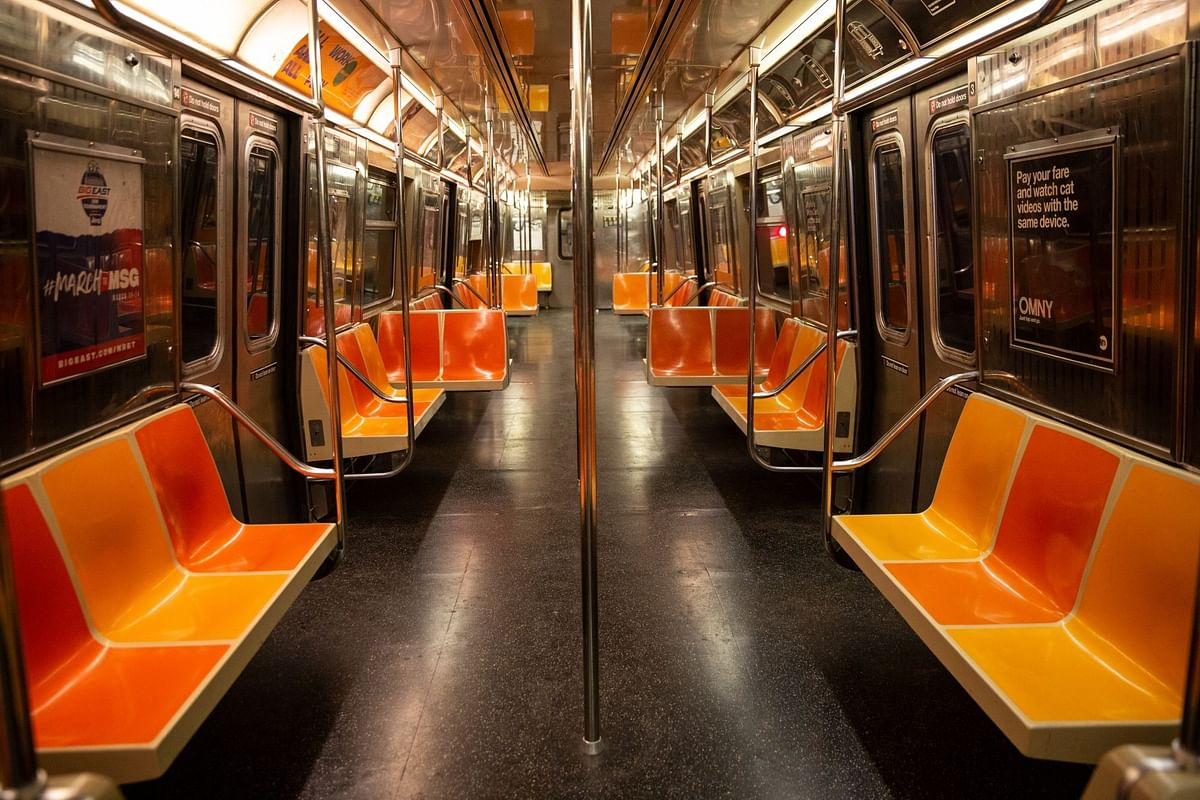 Elsewhere in New York, one car of a G-line subway train running between Queens and Brooklyn is empty on April 20. Photographer: Holly Pickett/Bloomberg