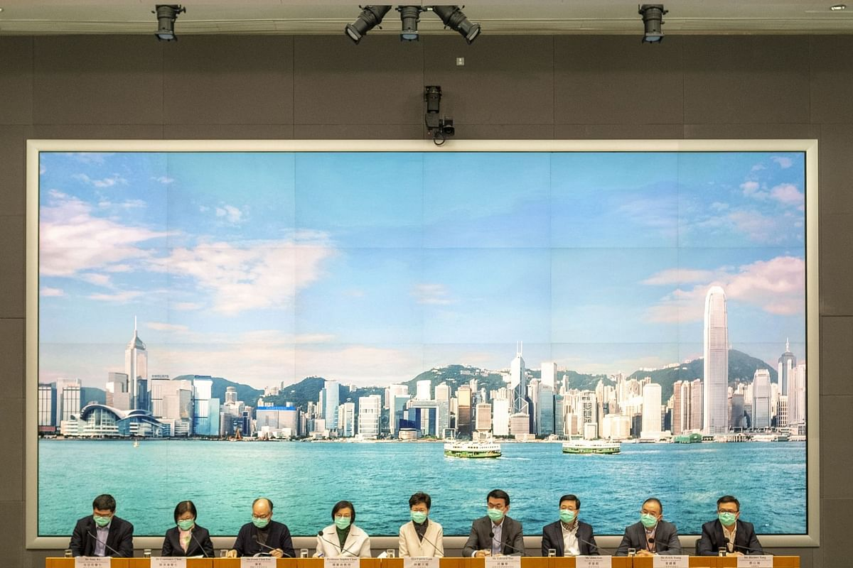 Hong Kong Chief Executive Carrie Lam unveils travel restrictions and border checks at a news conference on Jan. 28. Photographer: Justin Chin/Bloomberg
