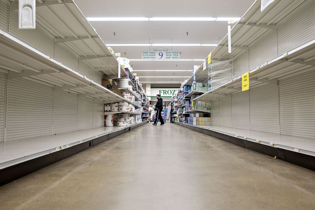 The paper goods aisle was empty at a supermarket in Princeton, Illinois, on April 16. Americans hoarded toilet paper at the outset of the pandemic. Photographer: Daniel Acker/Bloomberg