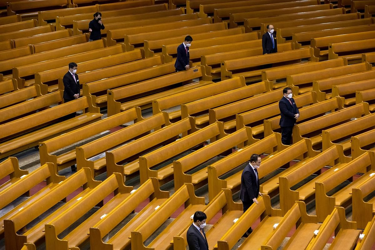 Pastors attend a service being livestreamed from a church in Seoul on March 15. Photographer: SeongJoon Cho/Bloomberg