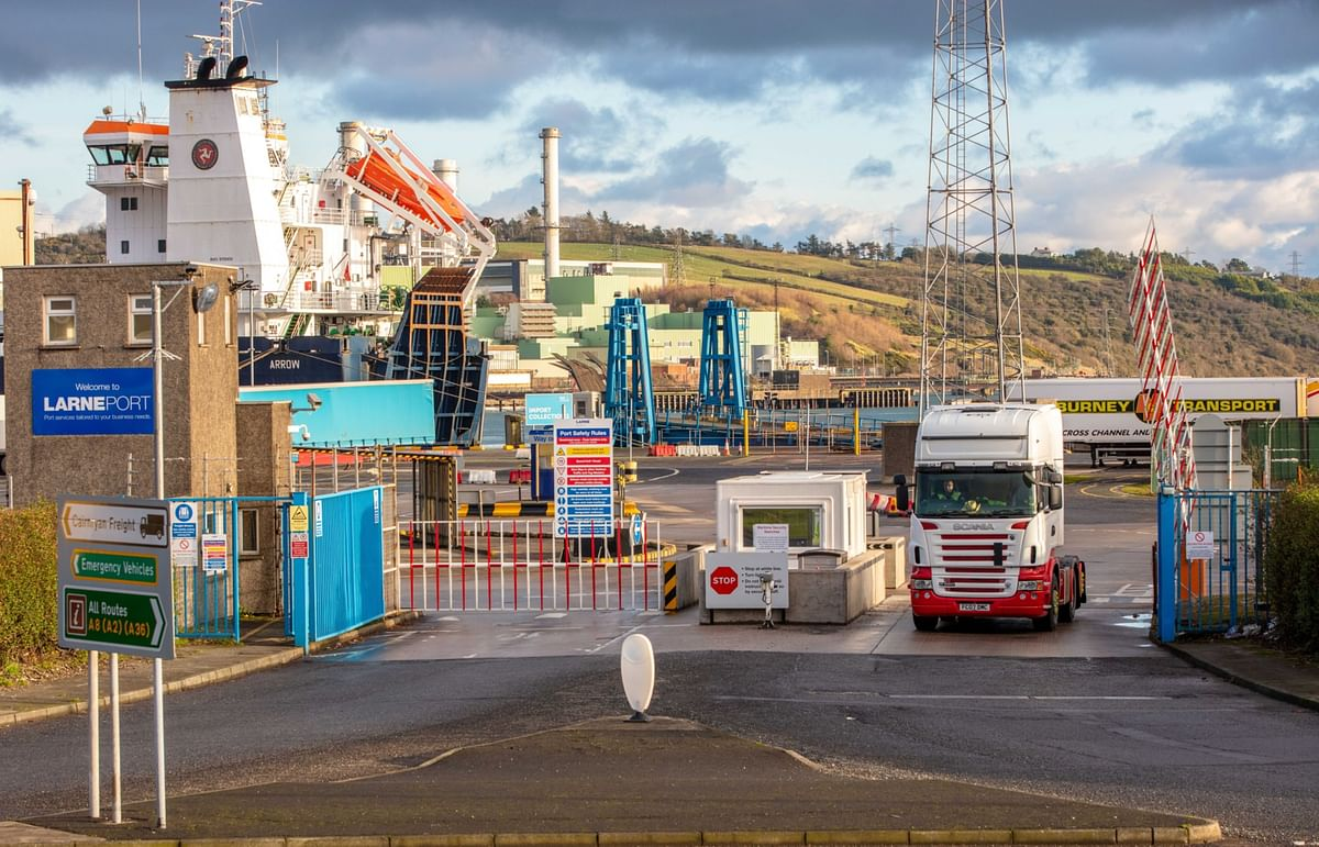 A haulage truck departs from Larne Port in Larne, Northern Ireland, U.K., on Dec. 7, 2020. (Photographer: Paul Faith/Bloomberg)