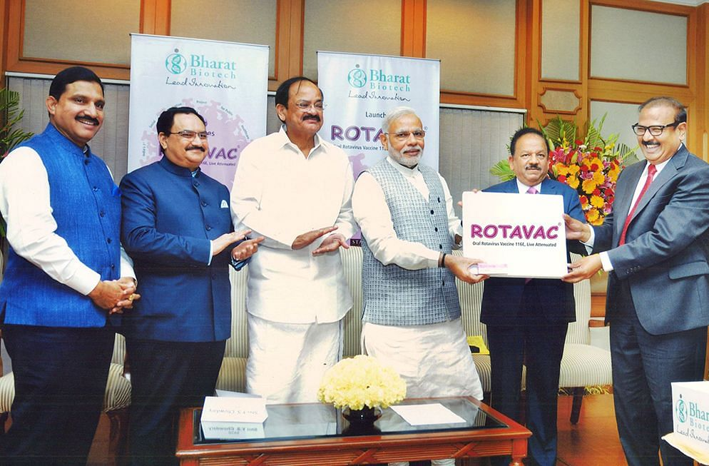 Dr Krishna Ella, founder, chairman, managing director of Bharat Biotech International Ltd. (first on right) with Prime Minister Narendra Modi (third from right).