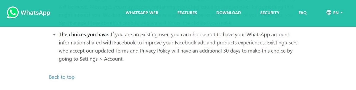 WhatsApp's earlier privacy policy, updated July 2020, that offered users the option to opt-out. (Source: WhatsApp)