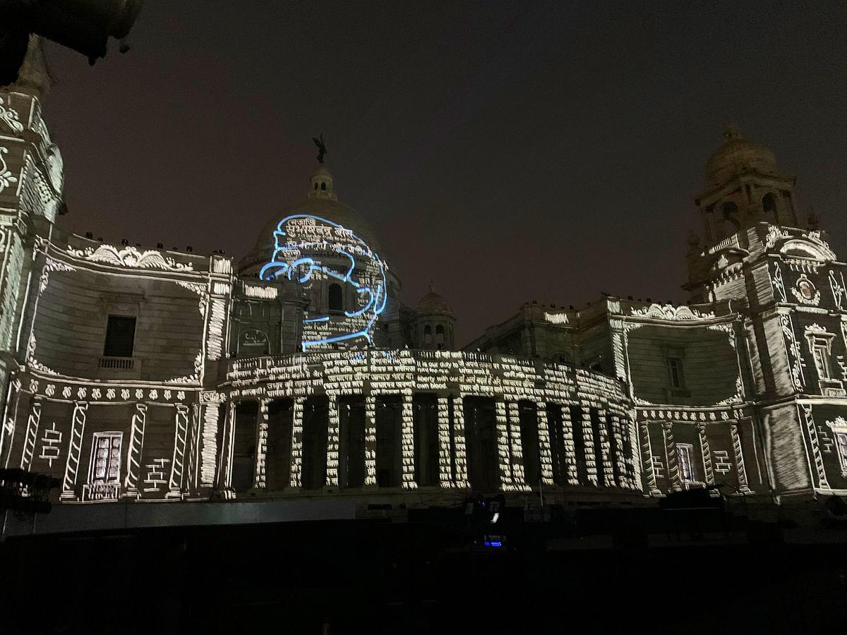 A projection show on Netaji Subhas Chandra Bose at the Victoria Memorial in Kolkata. (Photo: @PMOIndia twitter handle)