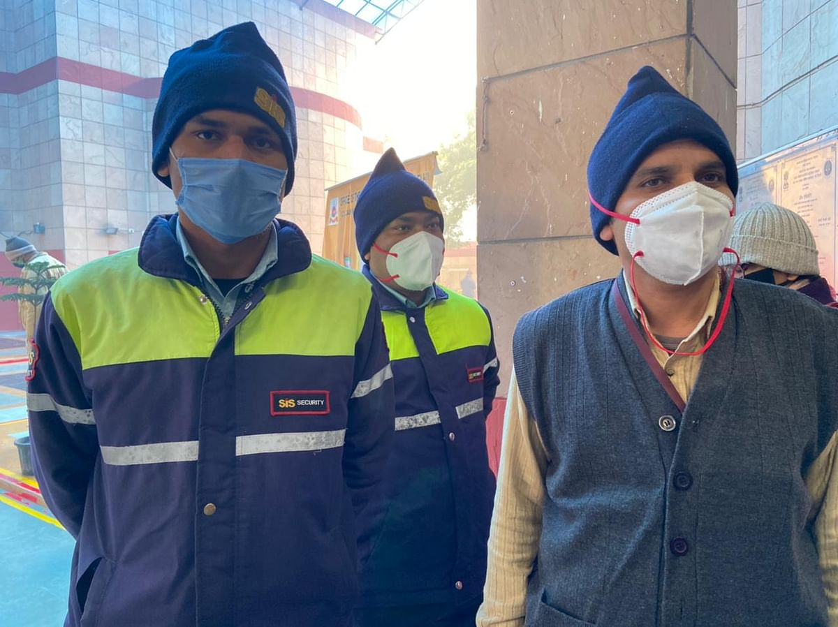 Frontline workers wait to get vaccinated at RML Hospital in Delhi. (Photographer: Nishant Sharma/BloombergQuint)