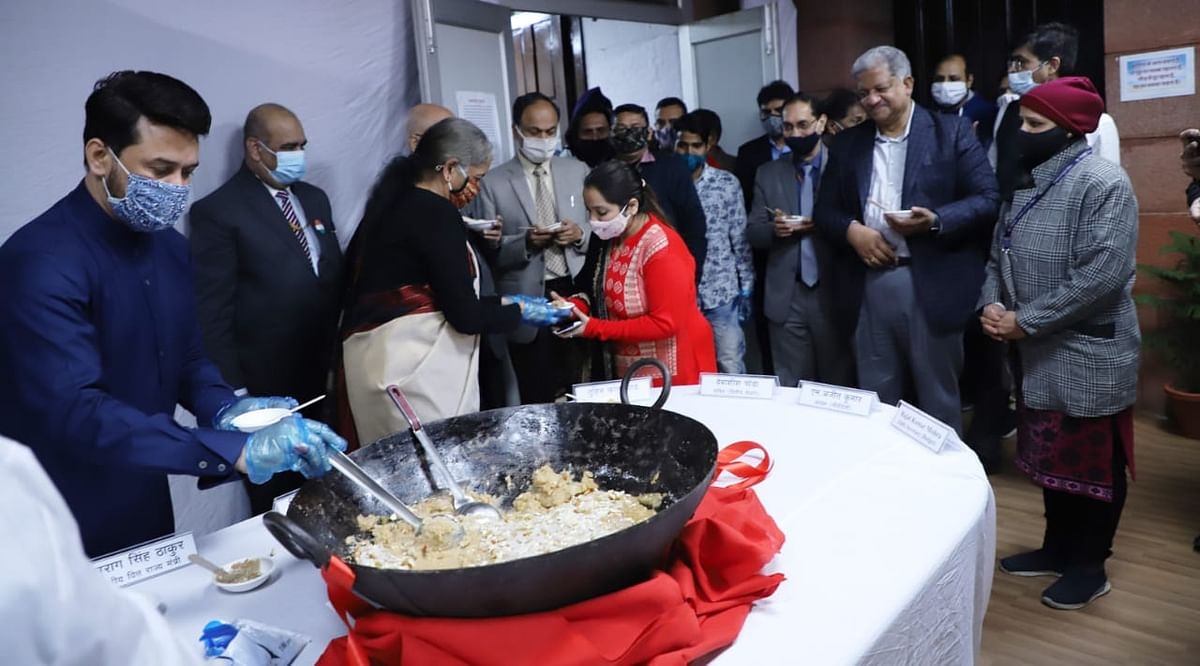 Finance Minister Nirmala Sitharaman at the Budget 2021 halwa ceremony in the Finance Ministry. (Photo: Finance Ministry social media)