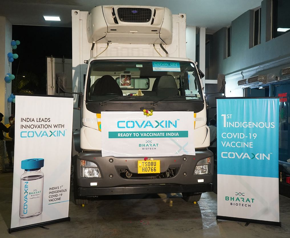 The first consignment of COVAXIN dispatched from Bharat Biotech on Jan. 14. (Photo: Bharat Biotech twitter handle)