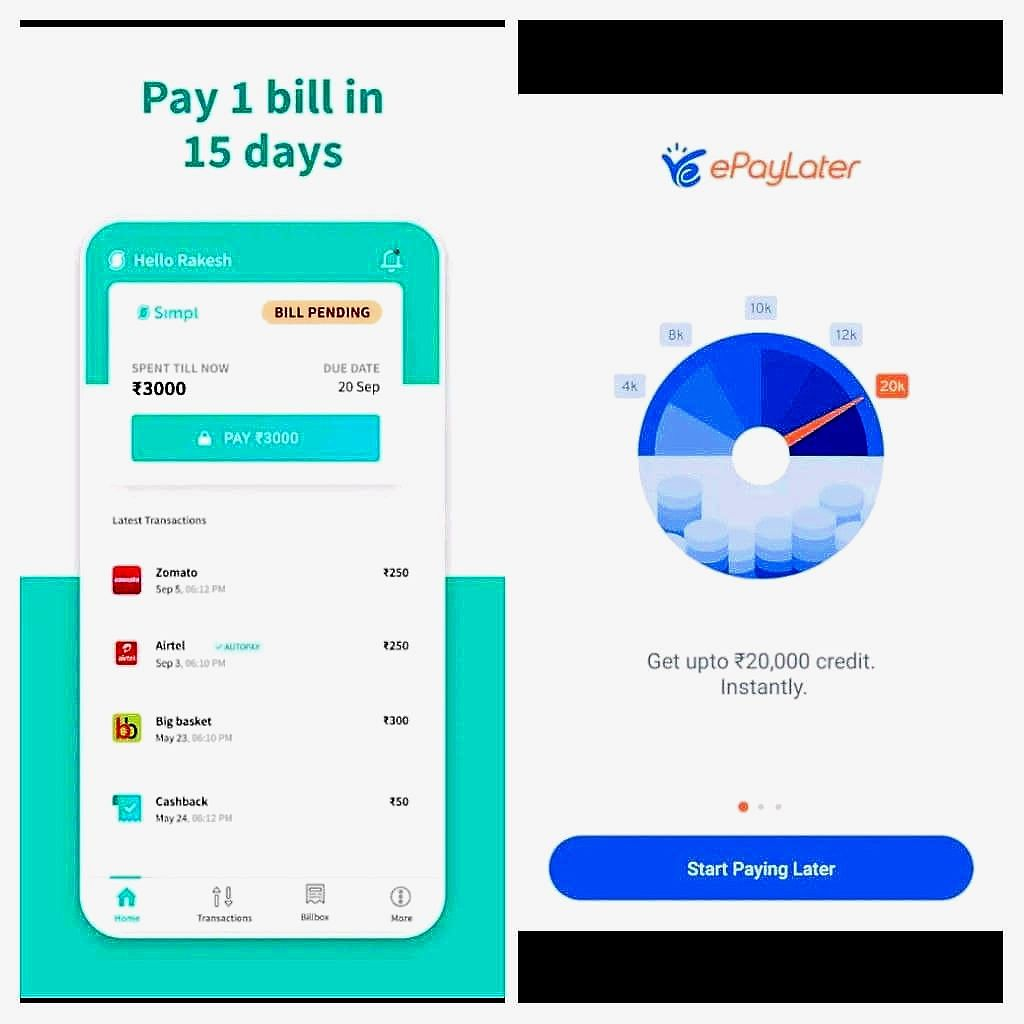 The first image shows the user interface of Simpl app, while the second image shows the UI for ePayLater. (Source: Google Play Store)