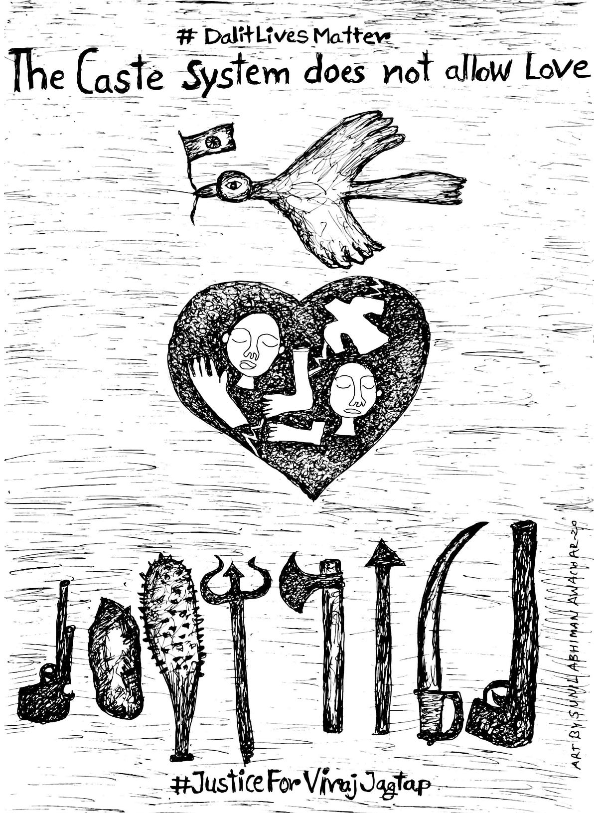Artwork by Sunil Abhiman Awachar for 'No Lockdown On Caste Atrocities'. (Courtesy: Esthaappen S.)