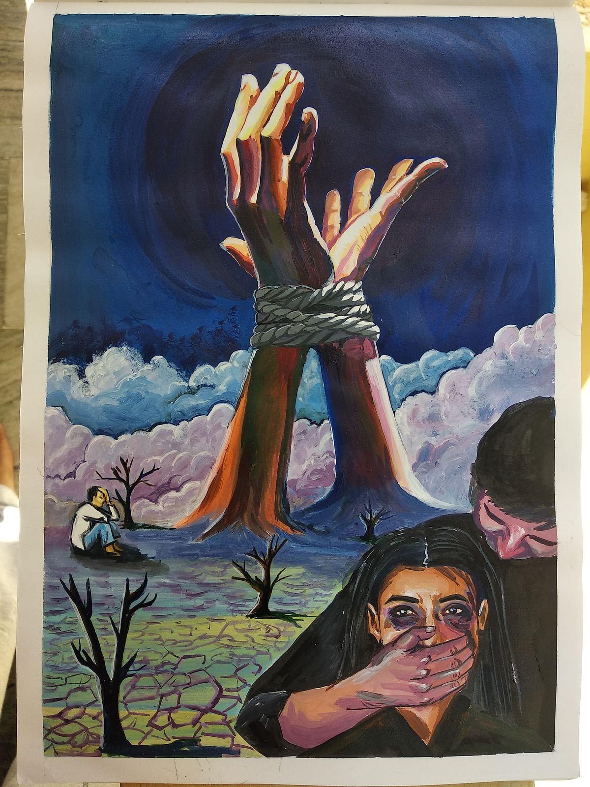 Artwork by Alaka Aditi for 'No Lockdown On Caste Atrocities'. (Courtesy: Esthaappen S.)