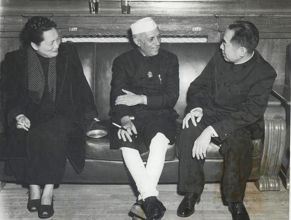 Jawaharlal Nehru with Chou En-Lai and Madam Sun Yat-sen, in Peking, 1954. (Photograph: NMML/Government of India)