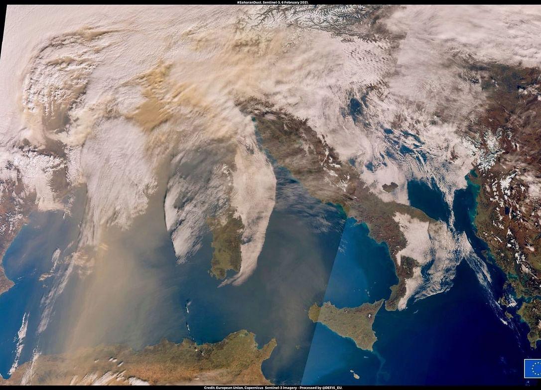 Plumeof Saharan Dust Makes Europe Look Like theRed Planet