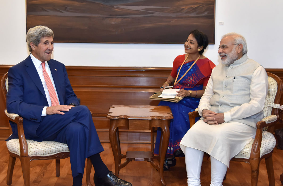 John Kerry, now U.S. Special Presidential Envoy for Climate, then Secretary of State, meets Prime Minister Narendra Modi, in New Delhi, On Aug. 31, 2016. (Photograph: PIB)