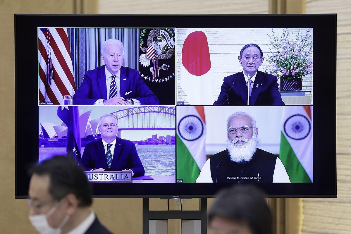 The virtual Quad meeting on March 12. (Photographer: Kiyoshi Ota/Bloomberg)
