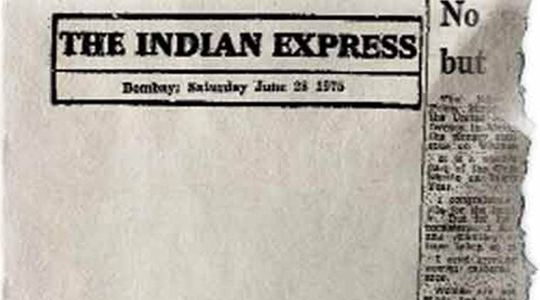 The Indian Express blank editorial, on June 28, 1975. (Image: Indian Express)