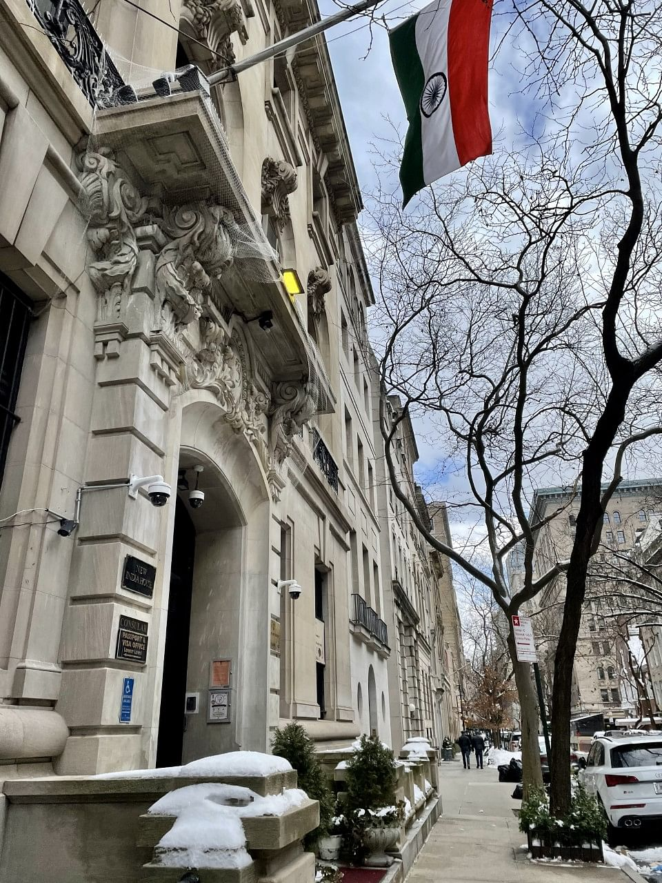 The Indian consulate in New York City, on Feb. 20, 2021. (Photograph: Shera Bhala)