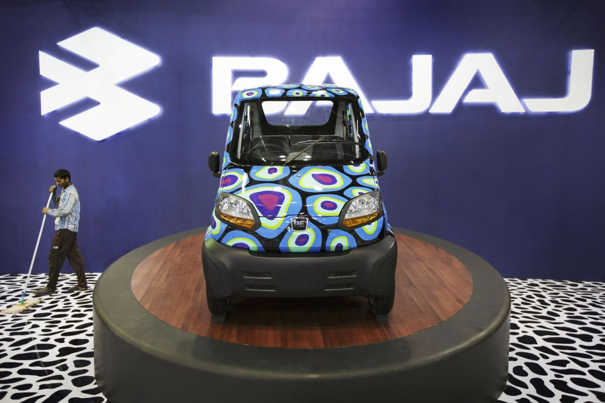 The Qute was first previewed as the RE60 at the 12th Auto Expo 2014 in Noida, India. (Photographer: Kuni Takahashi/Bloomberg)