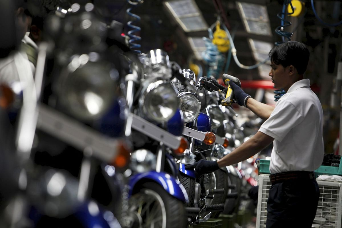 The assembly line at the Bajaj Auto Ltd. plant in Chakan, India, on  Feb. 21, 2011. (Photographer: Adeel Halim/Bloomberg)