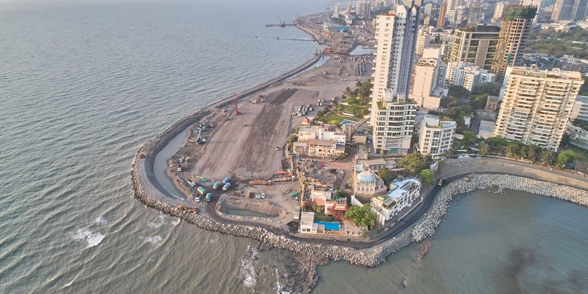 Aerial View of Mumbai's coastal road project. (Image: BMC)