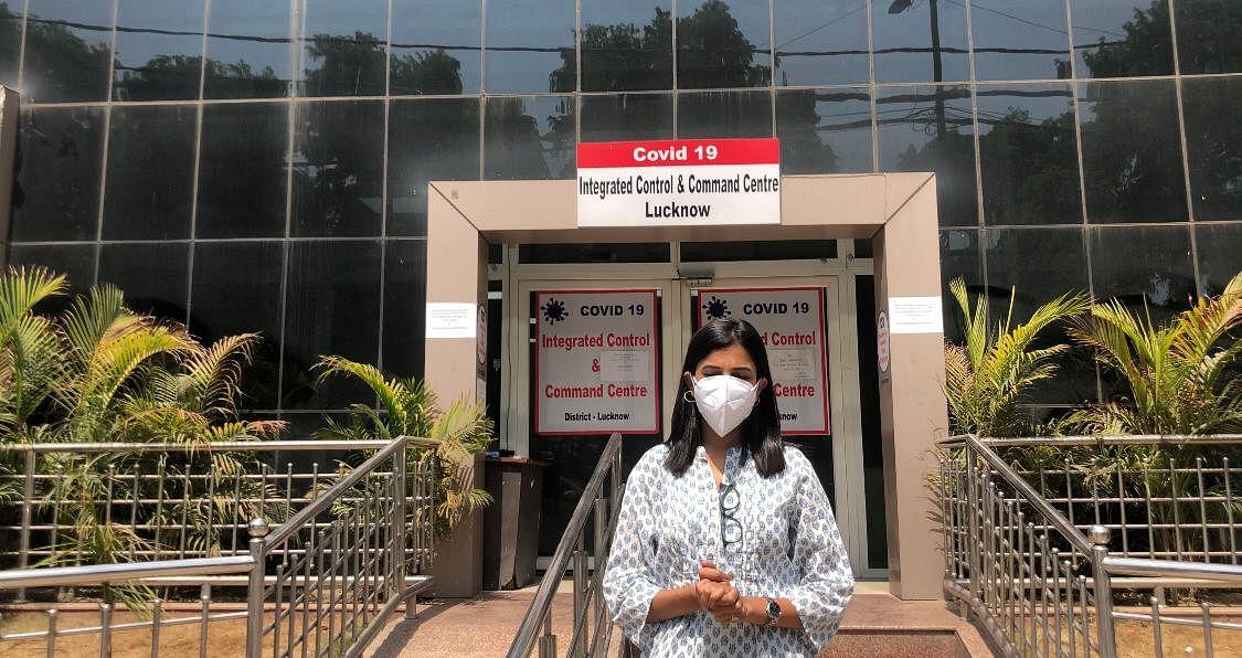 Jyoti Yadav outside the outside the Covid Command Centre in Lucknow, Uttar Pradesh. (Photograph: Jyoti Yadav/Via Priya Ramani)
