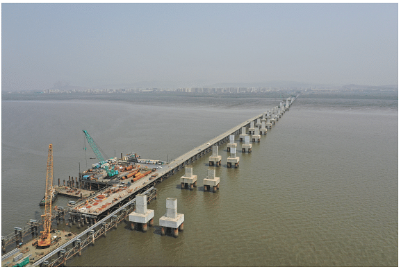 Work going on at MTHL package 2 (Image: MMRDA)