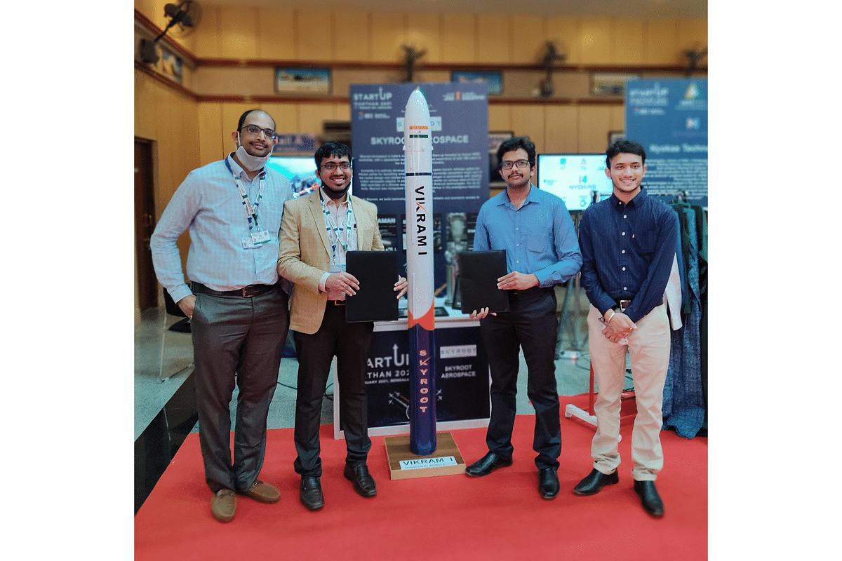 Skyroot Aerospace team with Vikram I. (Source: Skyroot)