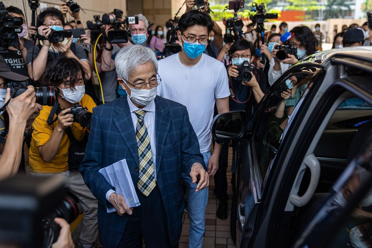 Martin Lee leaves the West Kowloon Magistrates Courts on April 1, 2021. (Photographer: Chan Long Hei/Bloomberg)