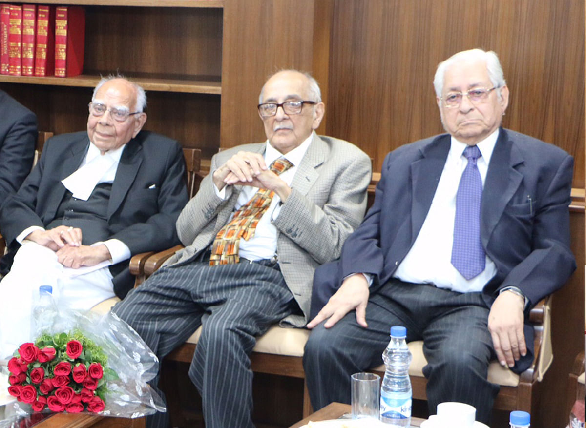 "A 2016 photograph of three of India's leading jurists, the late Ram Jethmalani (left), Fali Nariman (centre) and Soli Sorabjee (right).&nbsp; (Source: <a href=""https://www.some.ox.ac.uk/news/from-oxford-to-india-a-visit-by-the-oxford-india-centre-for-sustainable-development/"">The Oxford India Centre</a>)&nbsp;"