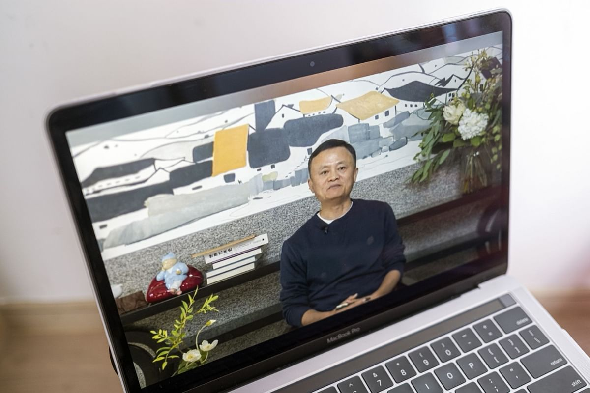 """<div class=""""paragraphs""""><p>A video recording of Jack Ma's first public appearance after months,  addressing teachers at an annual event on Jan. 20, 2021. (Photographer: Justin Chin/Bloomberg)</p></div>"""