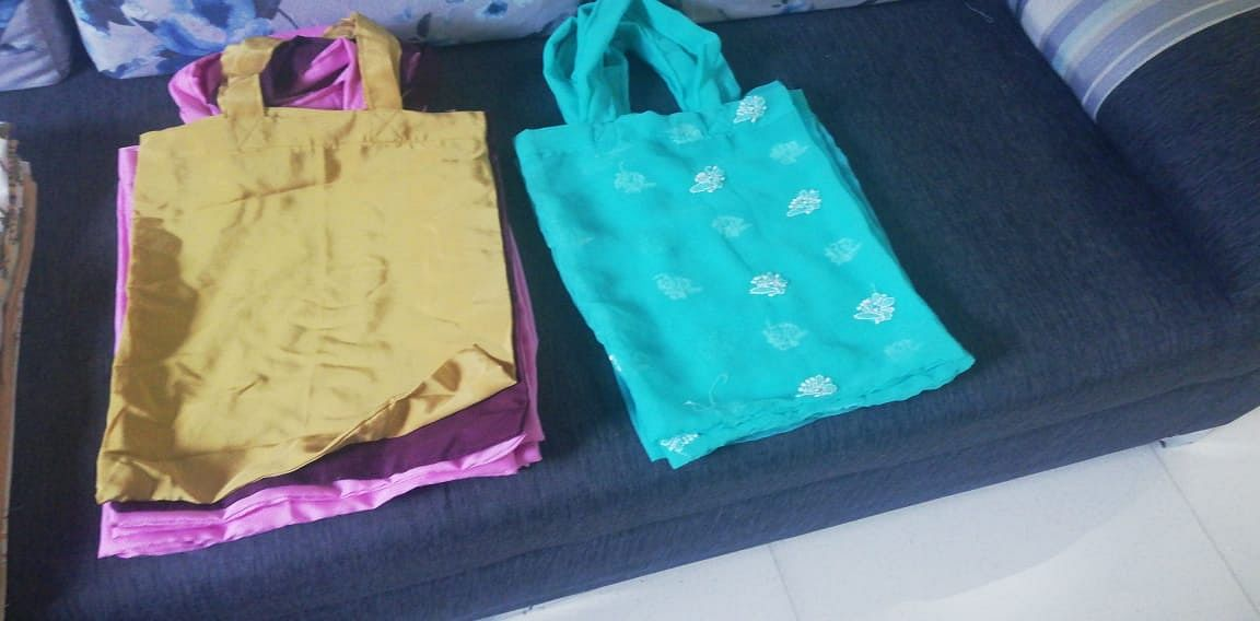 Cloth bags made from used sarees
