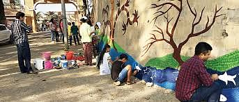 Wall painting mural by people lead by Abha at the Dr Salim Ali Bird Sanctuary