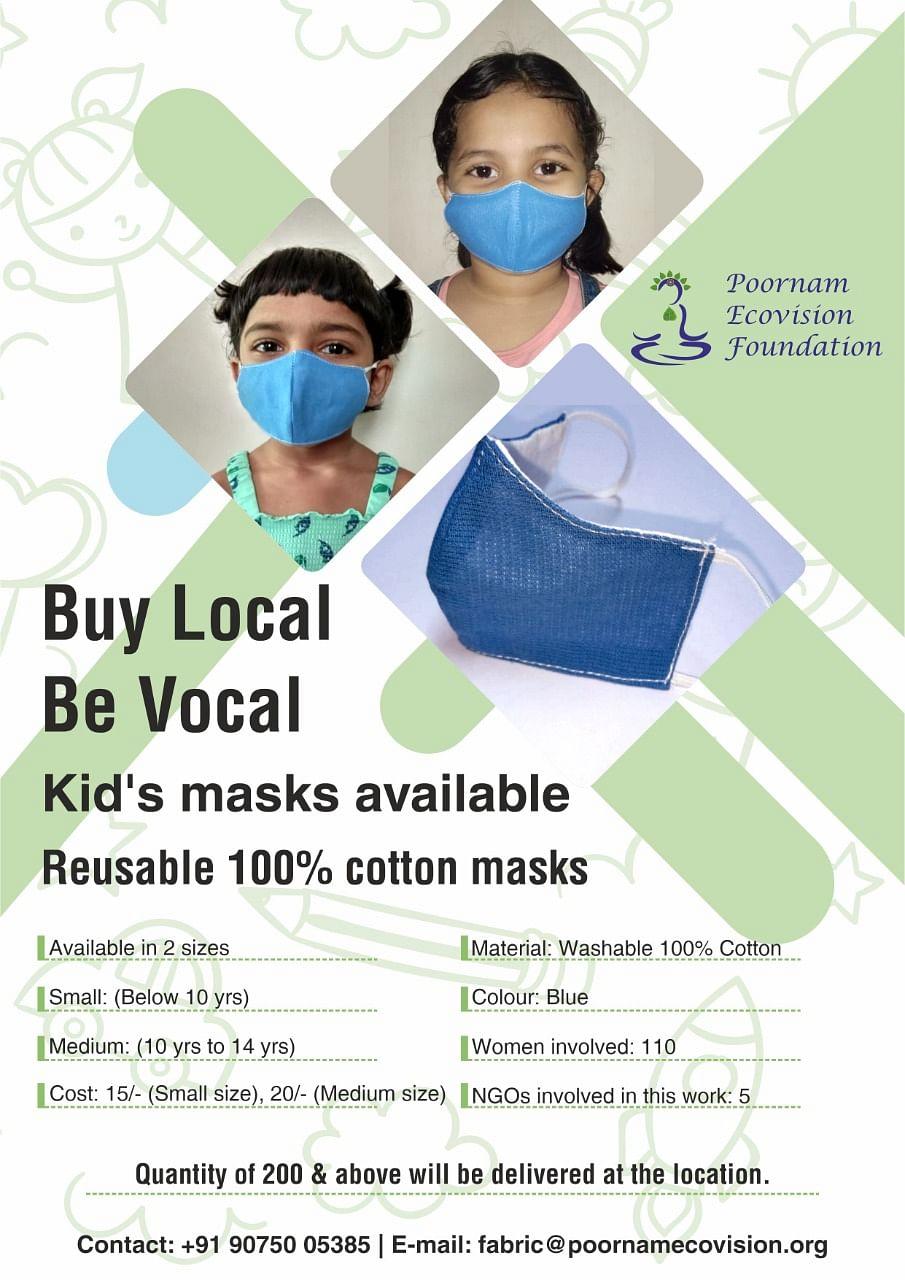 Reusable cotton masks for children