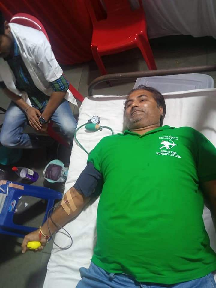 A Robin donating blood as part of a Blood Donation Drive conducted every year by the Robin Hood Army in Pune