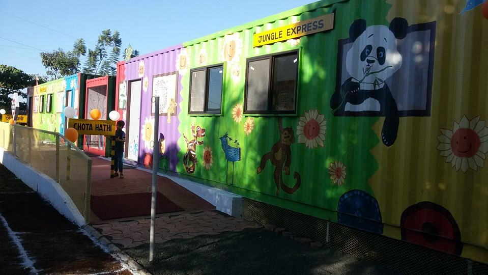 Containers at school turned to animal train