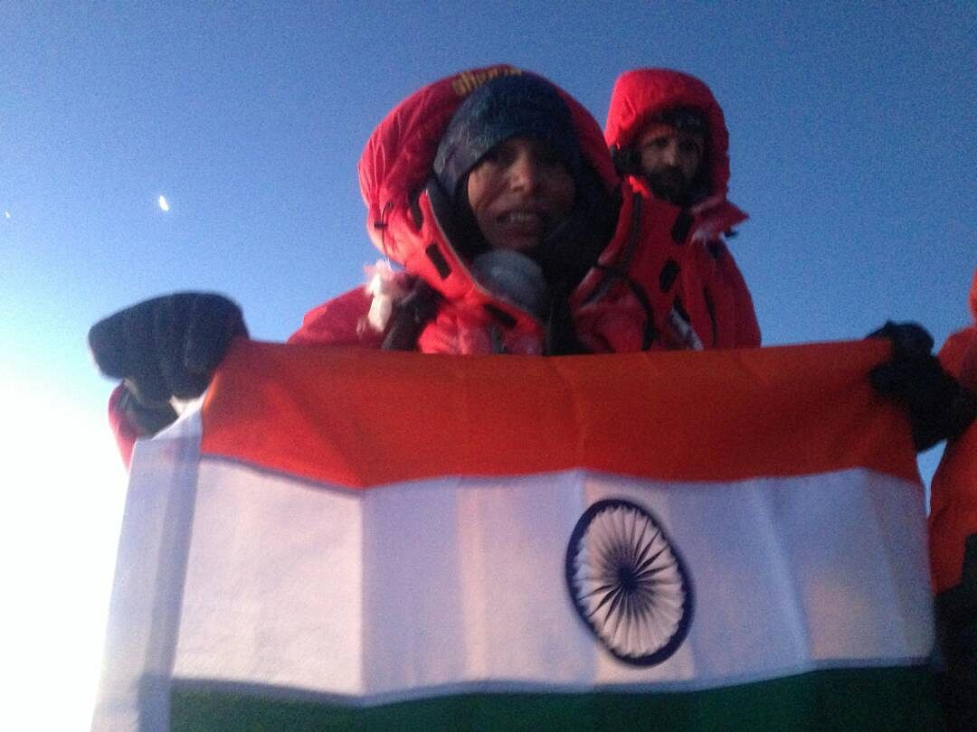 Aparna at the summit of Mt Everest