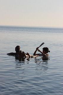 Floating effortlessly in the Dead Sea