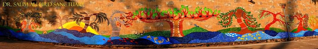 Dr Salim Ali Bird Sanctuary, Yerawada Pune painted wall mural by people participation, lead by Abha