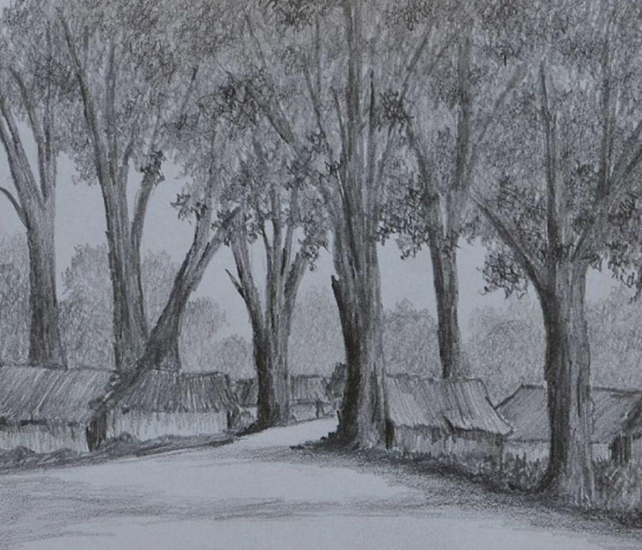 Village - pencil sketch by Milind Soman