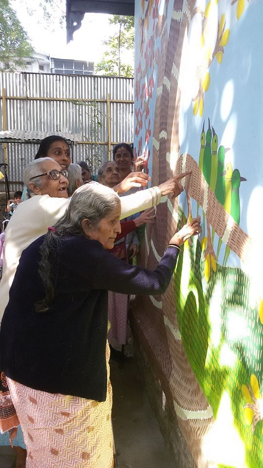 Old Age Home, Pune - finger painting in progress