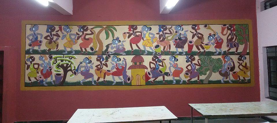 Santhal painting - Classroom in Nigdi