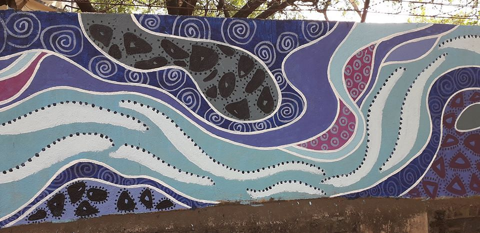 Indian River Day - painting on wall near SNDT Campus on Law College Road