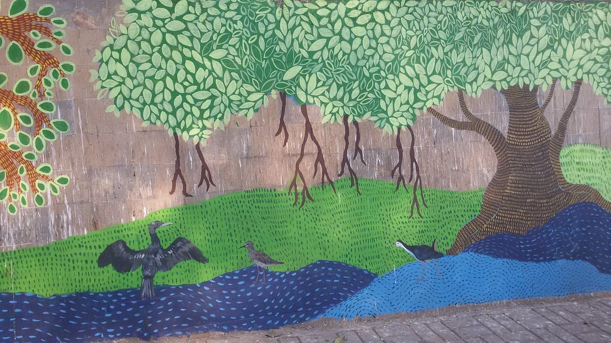 Wall painting murial by the people at Drt Salim Ali Bird Sanctuary, Pune