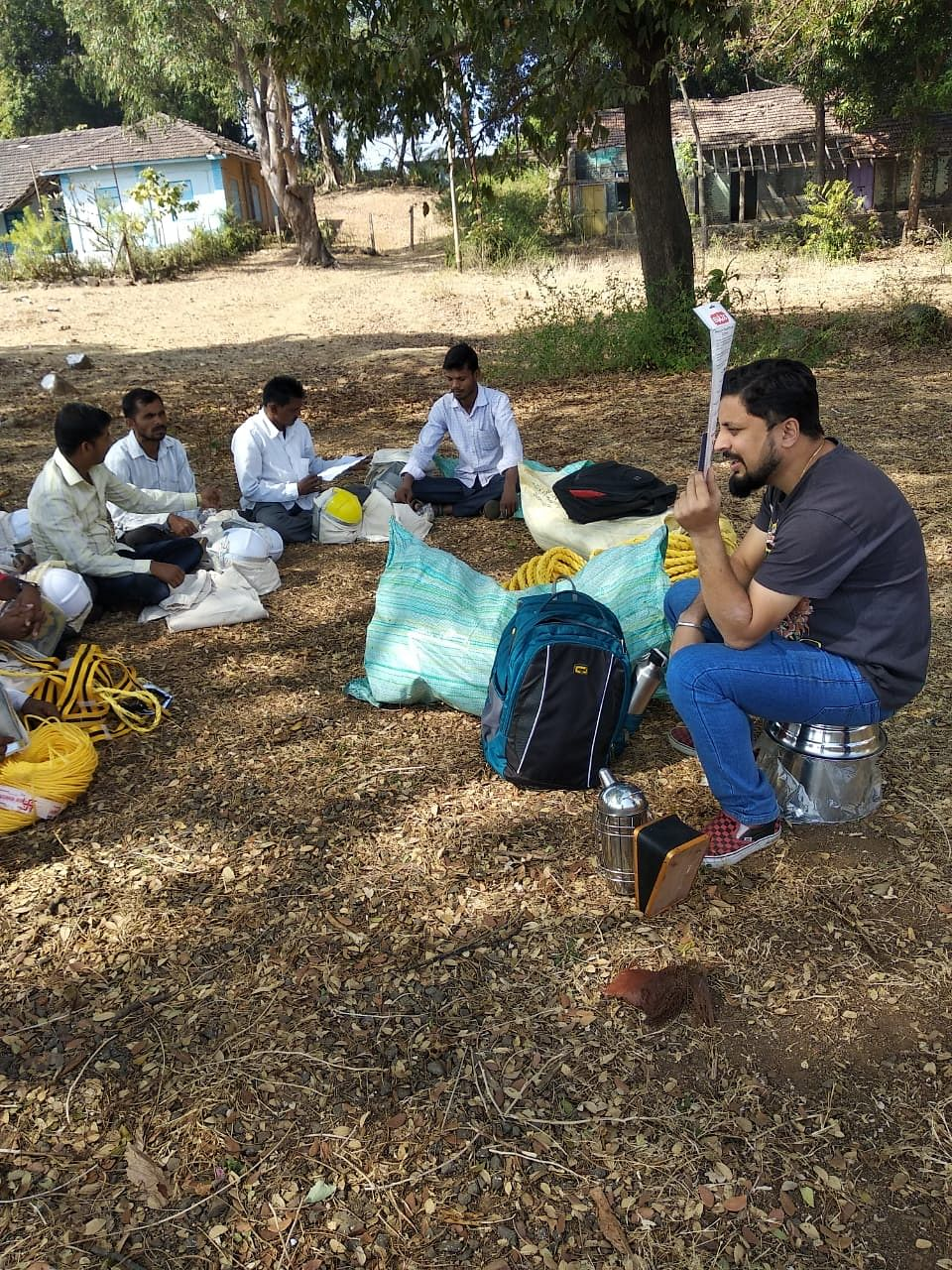 Training villagers and tribals at a beekeeping workshop