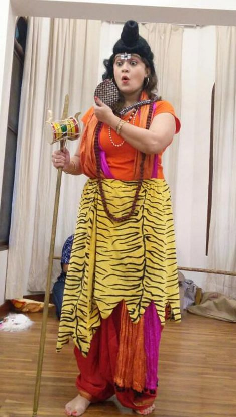 Radhika as Lord Shiva at a storytelling session on Mahashivratri