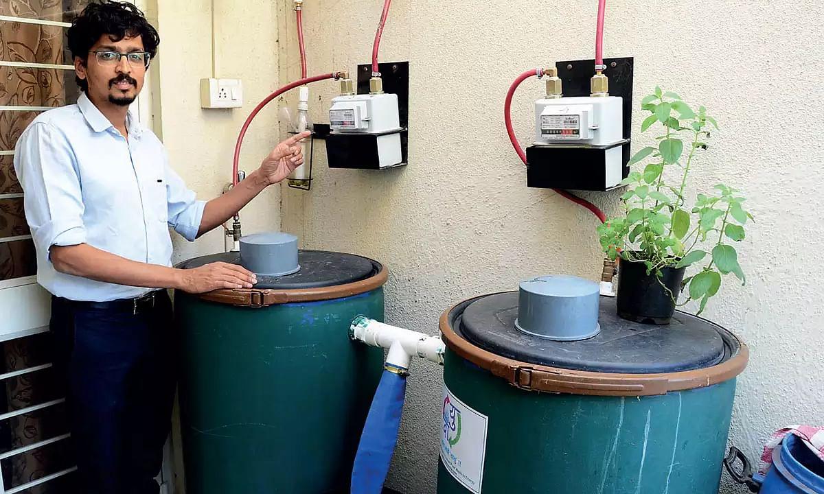 Priyadarshan with his home bio-gas system