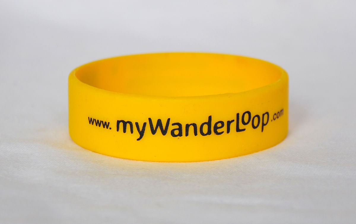 A close-up of the myWanderLoop wristband
