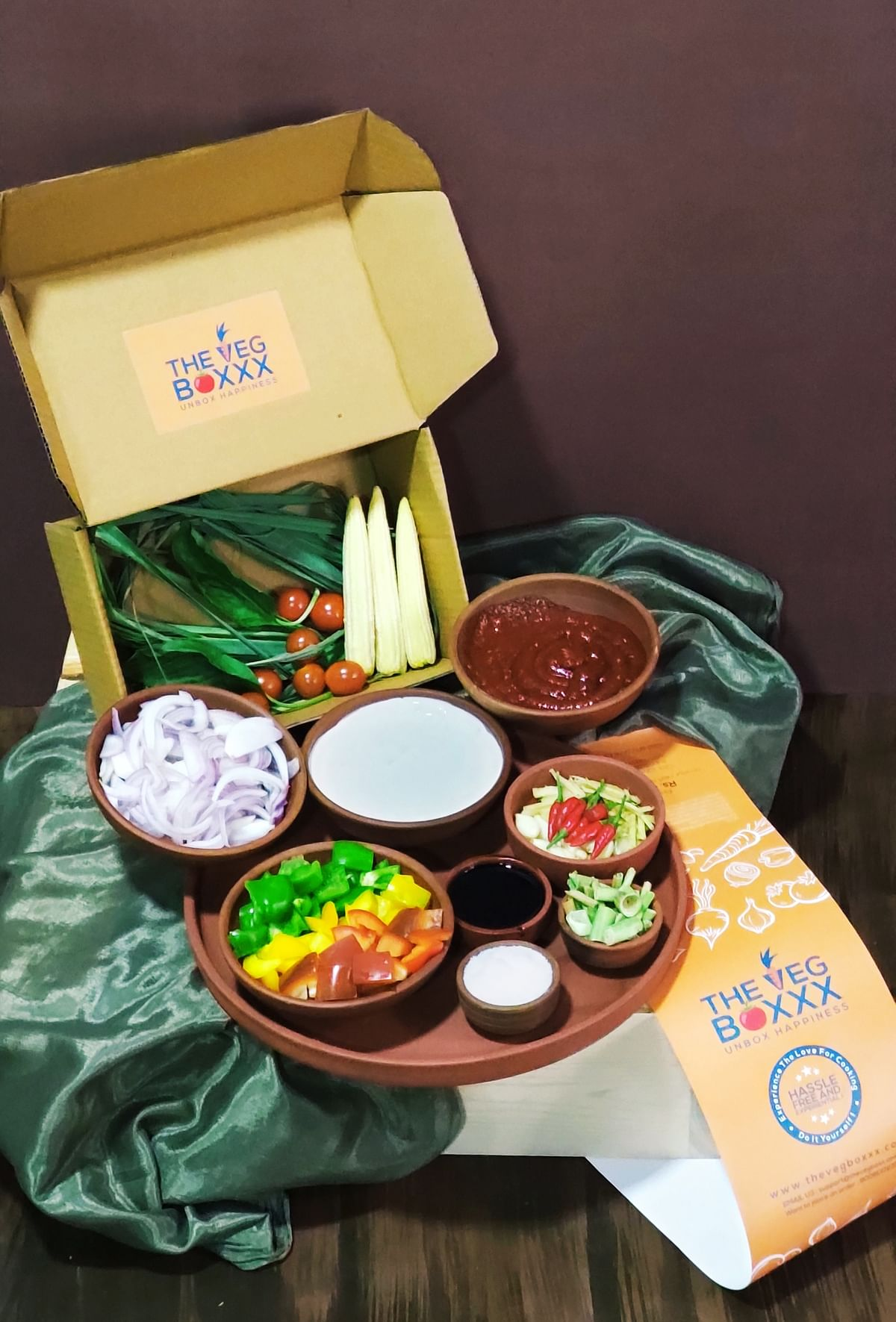 Happiness unboxed - The Veg Boxxx Meal KIt displaying ingredients for a Cook It Yourself meal