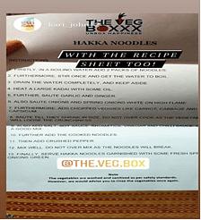 A recipe sheet that accompanies The Veg Boxxx Hakka Noodles