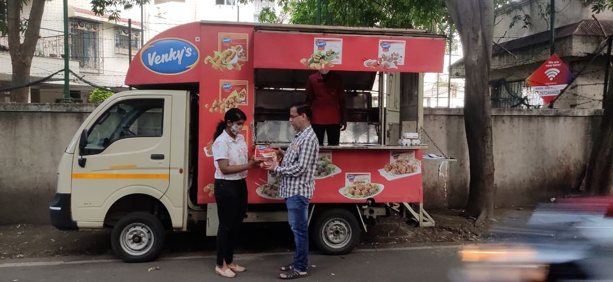 The bright Venky's van - Radhika's delivery counter