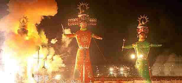 A Dusshera celebration  where the three effigies are being burnt